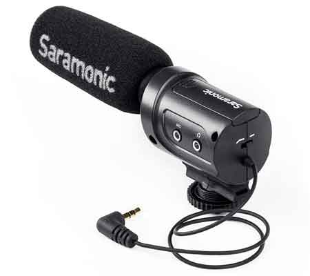 Jual Saramonic Lightweight Directional Condenser Microphone SR-M3 Murah. Cek Harga Saramonic Lightweight Directional Condenser Microphone SR-M3 disini, Sentra Digital Toko Kamera Online Surabaya - Sentradigital.com